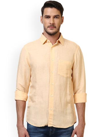 ColorPlus Men Peach Solid Slim Fit Casual Linen Shirt ColorPlus Shirts at myntra