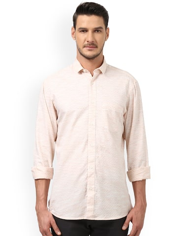 ColorPlus Men Peach-Coloured Tailored Fit Printed Casual Shirt ColorPlus Shirts at myntra