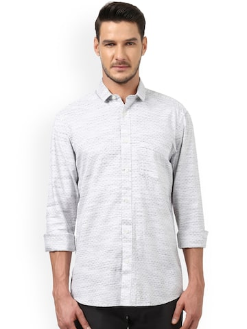 ColorPlus Men Grey Tailored Fit Printed Casual Shirt ColorPlus Shirts at myntra