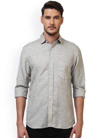 ColorPlus Men Grey Tailored Fit Self Design Casual Shirt ColorPlus Shirts at myntra