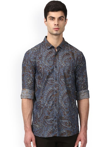 ColorPlus Men Teal & Red Tailored Fit Printed Casual Shirt ColorPlus Shirts at myntra