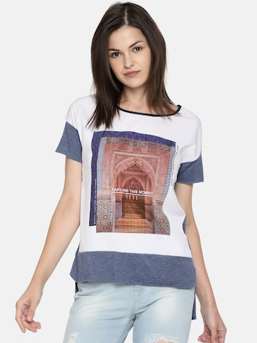 ef305483f09 Elle Women White   Blue Printed Round Neck High-Low T-shirt Elle Tshirts