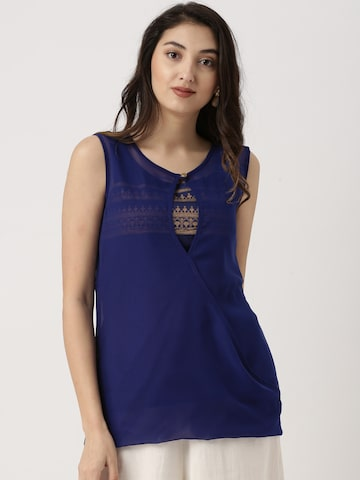 IMARA Women Blue Printed Top IMARA Tops at myntra