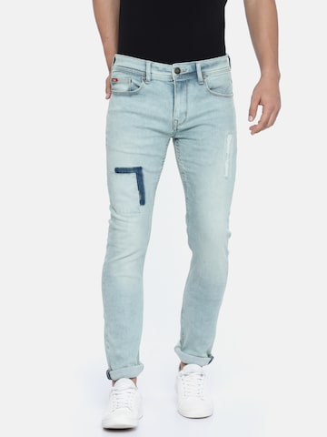 Lee Cooper Men Blue Slim Fit Mid-Rise Low Distress Stretchable Jeans Lee Cooper Jeans at myntra