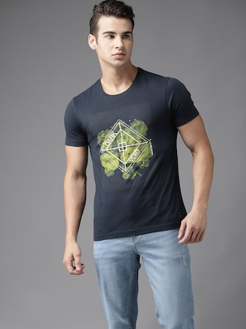 Flying Machine Men Navy Blue Printed Round Neck T-shirt Flying Machine Tshirts at myntra