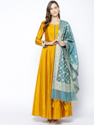 Inddus Mustard Yellow Solid Semi-Stitched Dress Material Inddus Dress Material at myntra