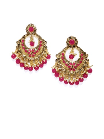 Zaveri Pearls Women Gold-Toned & Magenta Gold-Plated Quirky Chandbalis Zaveri Pearls Earrings at myntra