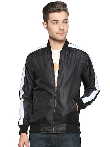 People Men Black Solid Bomber People Jackets at myntra