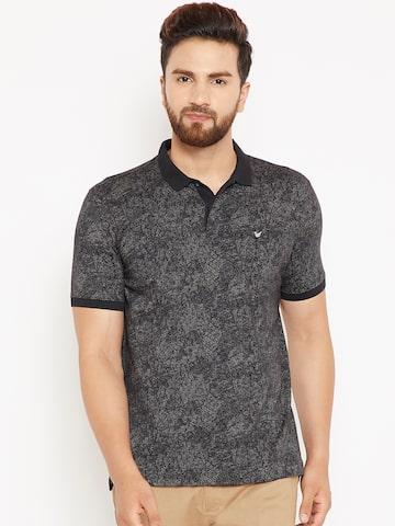 Blackberrys Men Black Printed Polo Collar T-shirt Blackberrys Tshirts at myntra