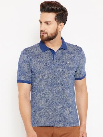 Blackberrys Men Blue & White Printed Polo Collar T-shirt Blackberrys Tshirts at myntra