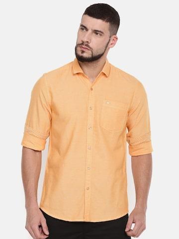 Lee Men Coral Orange Slim Fit Solid Casual Shirt Lee Shirts at myntra