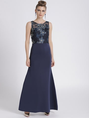 Athena Navy Blue Embroidered Maxi Dress with Sheer Back Athena Dresses at myntra