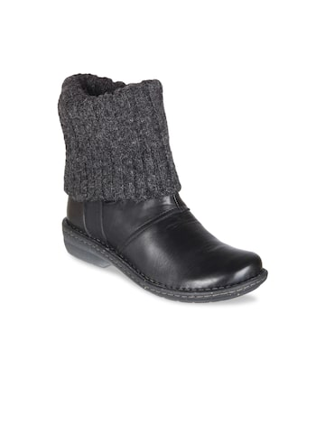 Clarks Women Black Leather Flat Boots Clarks Casual Shoes at myntra