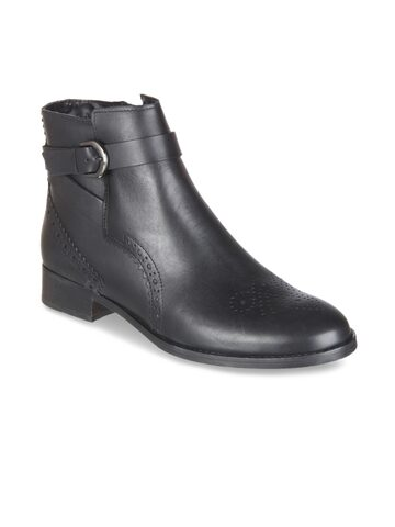 Clarks Women Black Solid Leather Flat Boots Clarks Casual Shoes at myntra