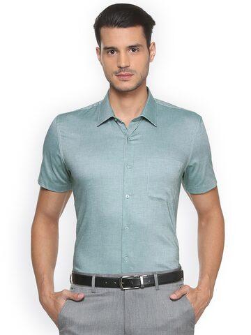 Peter England Men Green Slim Fit Solid Formal Shirt Peter England Shirts at myntra