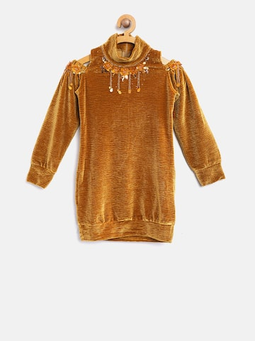 Tiny Girl Mustard Brown Self Design Longline Top Tiny Girl Tops at myntra