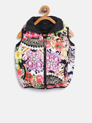 Tiny Girl Multicoloured Printed Quilted Jacket Tiny Girl Jackets at myntra