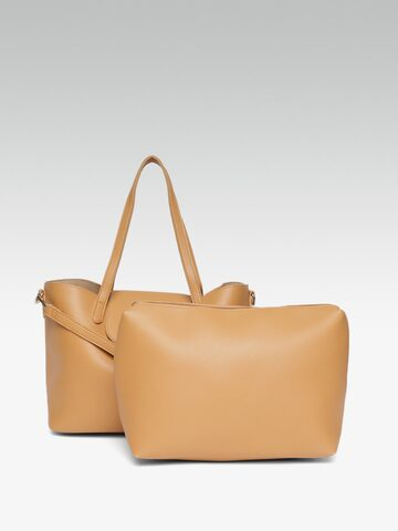 20Dresses Tan Brown Solid Handheld Bag With Detachable Sling Strap & Pouch 20Dresses Handbags at myntra