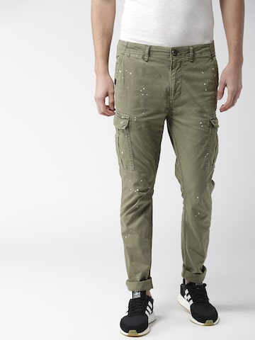 Superdry Men Olive Green Regular Fit Solid Cargos Superdry Trousers at myntra