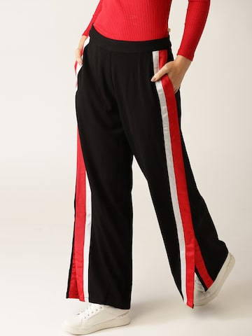 United Colors of Benetton Women Black & Red Regular Fit Solid Parallel Trousers United Colors of Benetton Trousers at myntra