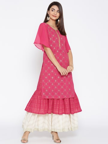 AURELIA Women Pink & Golden Printed Layered A-Line Kurta AURELIA Kurtas at myntra