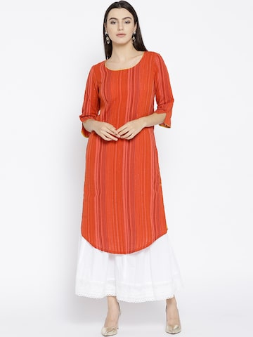 AURELIA Women Rust Orange Self-Striped Straight Kurta AURELIA Kurtas at myntra