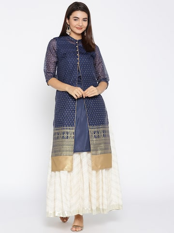 AURELIA Women Navy Blue & Golden Printed Layered A-Line Kurta AURELIA Kurtas at myntra