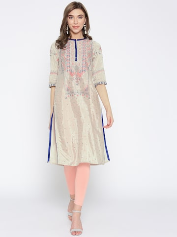AURELIA Women Grey & Pink Printed Straight Kurta AURELIA Kurtas at myntra