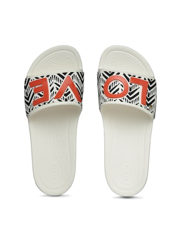 Crocs Women White & Red Printed Sliders Crocs Flip Flops at myntra