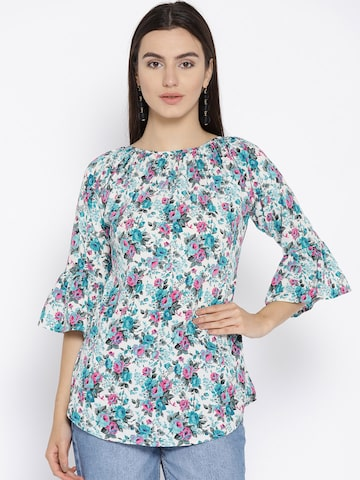Cottinfab Women White & Blue Printed Top Cottinfab Tops at myntra