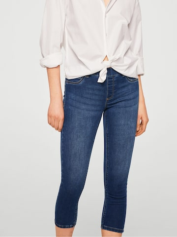 MANGO Blue Washed Cropped Jeggings MANGO Jeggings at myntra