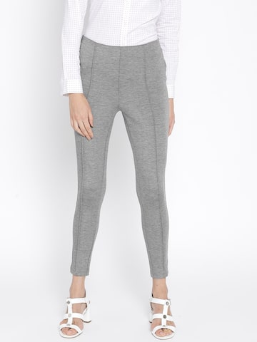 MANGO Grey Melange Solid Treggings MANGO Jeggings at myntra