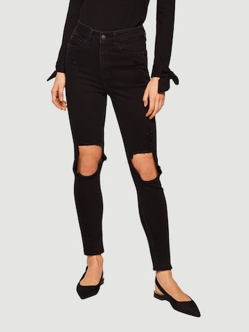 MANGO Women Black Skinny Fit High-Rise Highly Distressed Stretchable Jeans MANGO Jeans at myntra