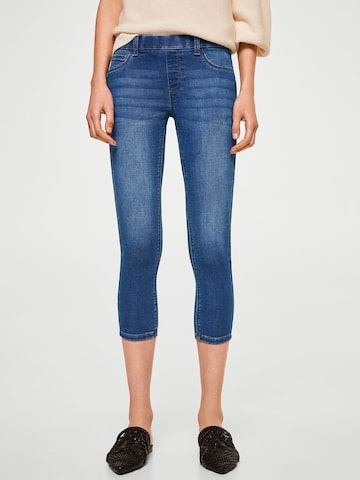 MANGO Women Blue Washed Cropped Jeggings MANGO Jeggings at myntra