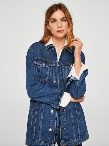 MANGO Women Blue Solid Denim Jacket MANGO Jackets at myntra