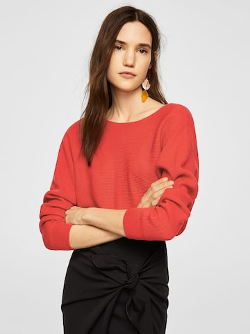 MANGO Women Coral Orange Solid Pullover MANGO Sweaters at myntra