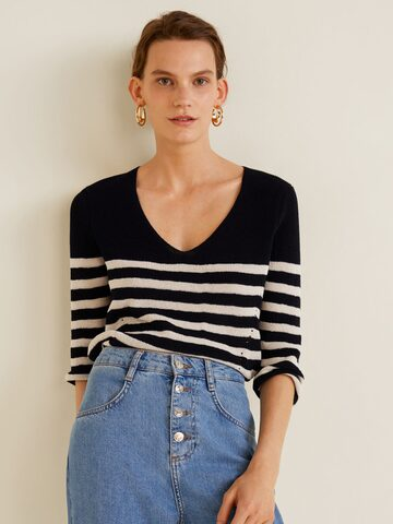 MANGO Women Navy Blue & Off-White Striped Pullover MANGO Sweaters at myntra