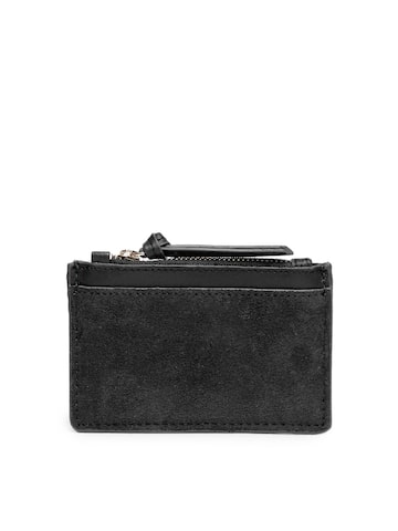 Accessorize Women Black Solid Leather Card Holder Accessorize Wallets at myntra