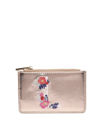 Accessorize Women Rose Gold-Toned Embroidered Card Holder Accessorize Wallets at myntra