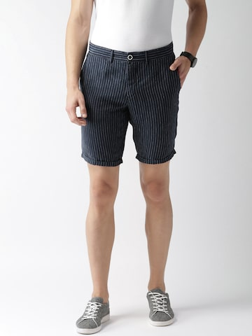 Celio Men Navy Blue Linen Striped Regular Fit Shorts Celio Shorts at myntra