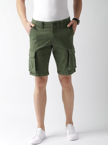 Celio Men Olive Green Solid Regular Fit Cargo Shorts Celio Shorts at myntra
