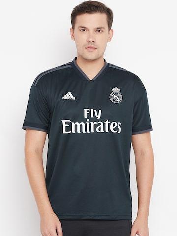 Adidas Men Teal Green Printed Real Madrid Away Football Jersey Adidas Tshirts at myntra