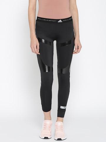 Stella McCartney by Adidas Women Black & Grey Ultra Running Tights Adidas Tights at myntra
