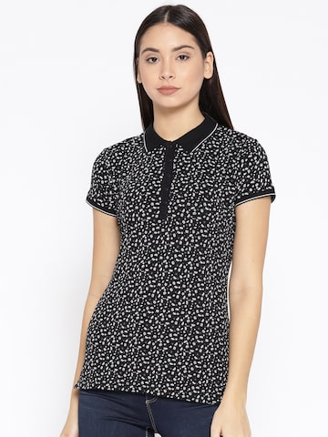 U.S. Polo Assn. Women Black & White Printed Polo Collar T-shirt U.S. Polo Assn. Women Tshirts at myntra