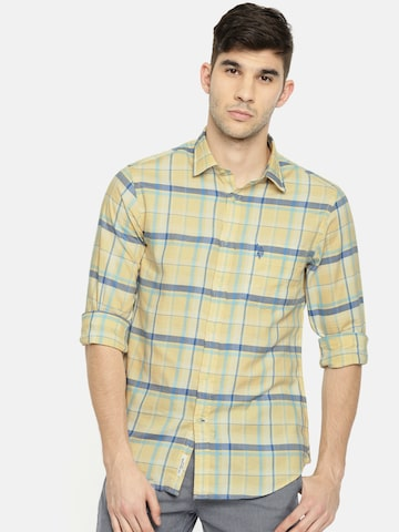U.S. Polo Assn. Men Yellow & Blue Tailored Fit Checked Casual Shirt U.S. Polo Assn. Shirts at myntra