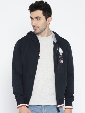 U.S. Polo Assn. Men Navy Blue Applique Detail Hooded Sweatshirt U.S. Polo Assn. Sweatshirts at myntra