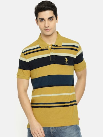 U.S. Polo Assn. Men Mustard Yellow & Navy Blue Striped Polo T-shirt U.S. Polo Assn. Tshirts at myntra