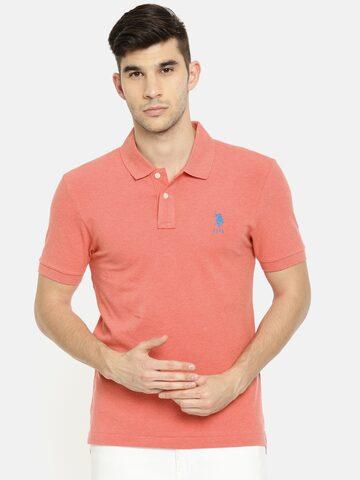 U.S. Polo Assn. Men Peach-Coloured Solid Polo Collar T-shirt U.S. Polo Assn. Tshirts at myntra