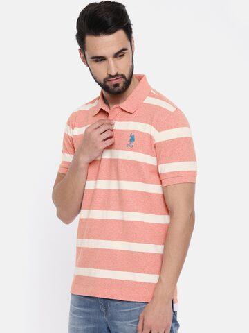 U.S. Polo Assn. Men Pink Striped Polo Collar T-shirt U.S. Polo Assn. Tshirts at myntra