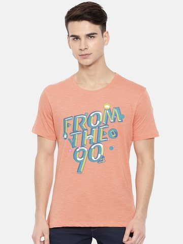 Wrangler Men Peach-Coloured Printed T-shirt Wrangler Tshirts at myntra